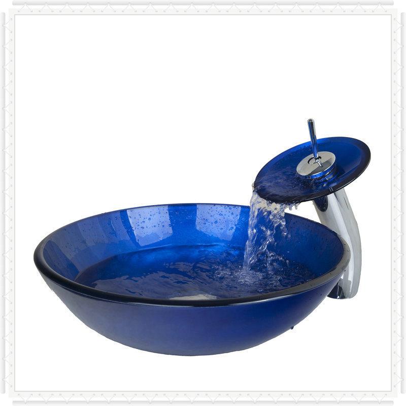 Lavabos Vidrio Para Baño:Niza azul lavabo del baño de vidrio templado buque fregadero redondo