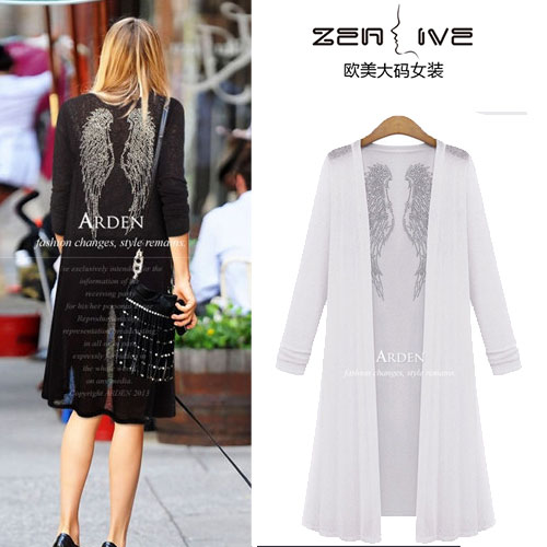 2015 fashion plus size clothing spring mm long design cardigan knitted dress - Plus-size clothes store