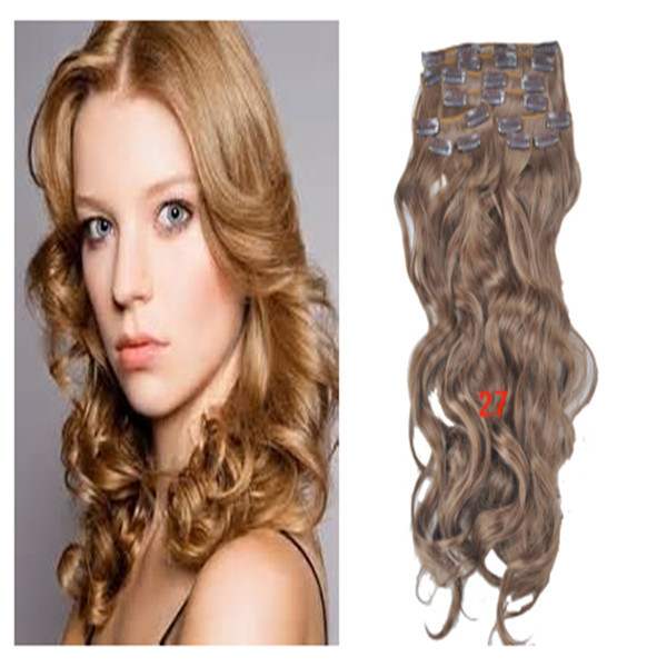 """Cheap Synthetic Colorful Clip-in Hair Extensions Wavy Women's Hair 20"""" 150g 24"""" 170g 10pcs/lot Strawberry Blonde Free shipping(China (Mainland))"""