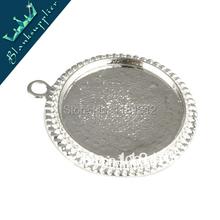 25 mm redondo de plata del camafeo Cabochon bisel Base ajuste colgantes, bandejas pendientes en blanco, blanco de metal para la joyería, vendido 20 unids piezas por paquete(China (Mainland))