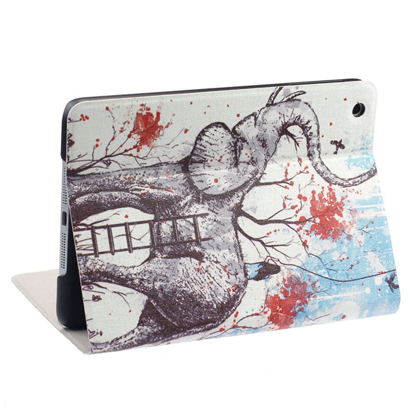 New Elephants Pattern Flip Stand Case Smart Protective Folio PU Leather Cover For iPad Mini 1 2 3 Retina Hot Sale
