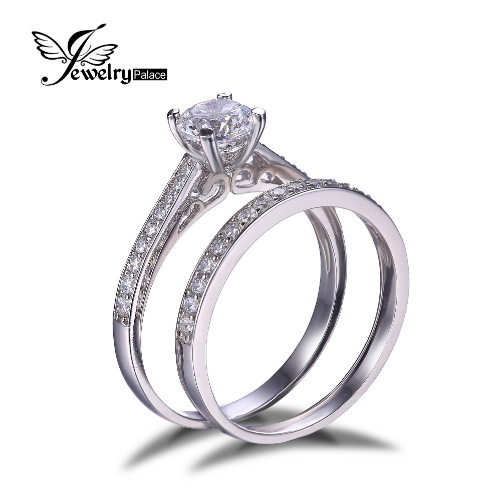 1ct CZ Engagement Wedding Ring Set 925 Sterling Silver Rings For Women Band Wedding Rings Promise Ring Bridal Jewelry(China (Mainland))