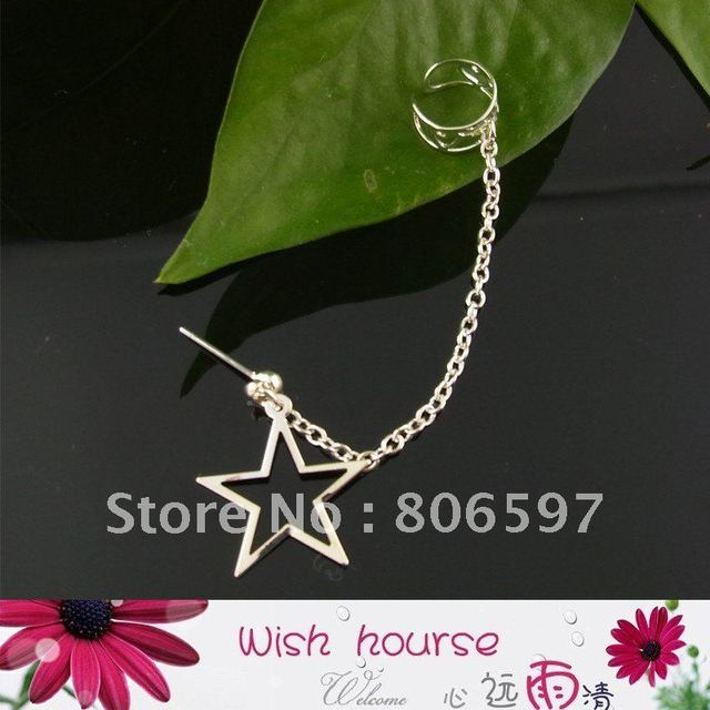 WHHEC006,free shipping wholesale fashion new arrival silver  chain ear cuff with hollow five-pointed star,sell by lot(50pcs)