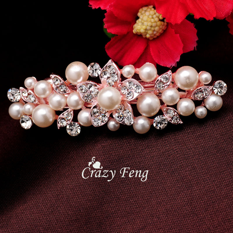 Women18k Gold Plated Imitation Pearl Crystal Flower Barrettes Hairpin HairClip Clamp Headwear Accessories Jewelry - Crazy Li Fashion store