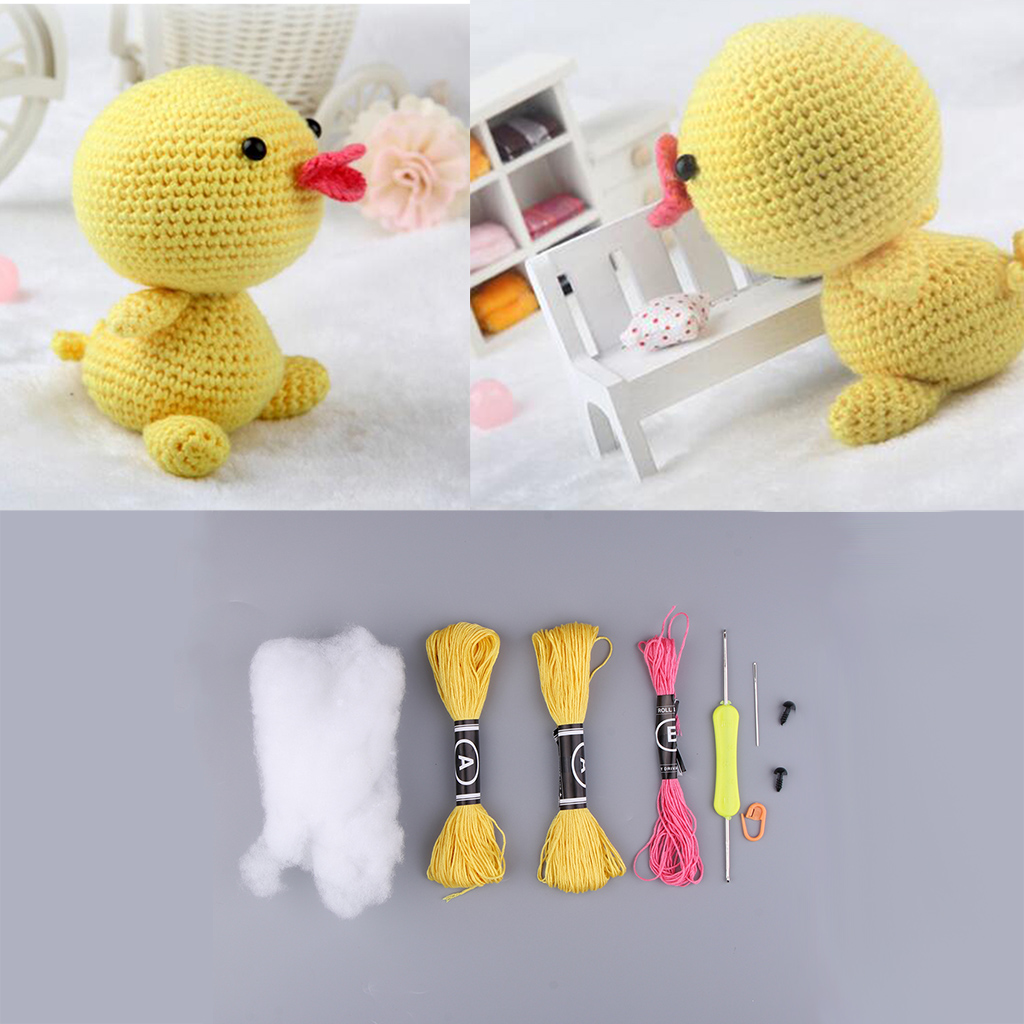 Unfinished Yellow Duck Hand Knitting Crochet Toy Cotton DIY Materials Kits Easy to Learn Children Gift Knitting Sewing Craft