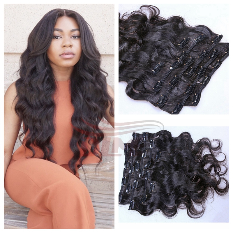 Wavy Hair Extensions Human Hair Clip In 4