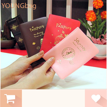 2015 new cute passport cover card holder ticket case women wallet 3 color character cover to passport carteras mujer