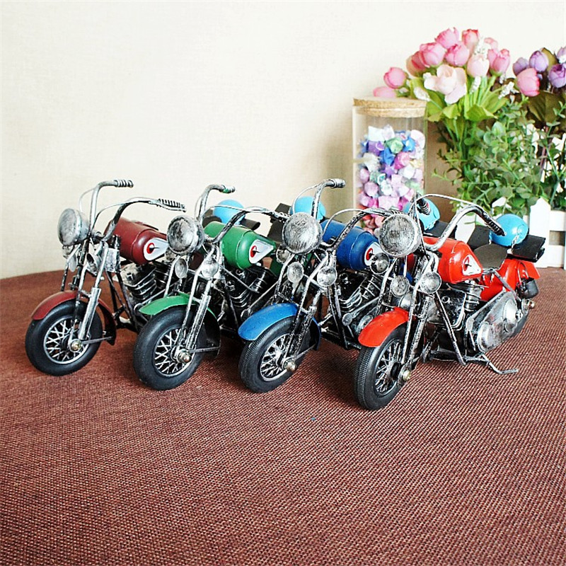 Vintage Decor Metal Craft Retro Antique Motorcycle Model Handcraft Home Decoration 22x8x12cm U0683