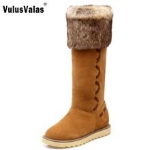 Buy Russia Women Winter Warm Knee High Boots Fashion Woman Round Toe Long Plush Snow Boot Flat Shoes Woman Botas Mujer Size 34-43 for $26.98 in AliExpress store