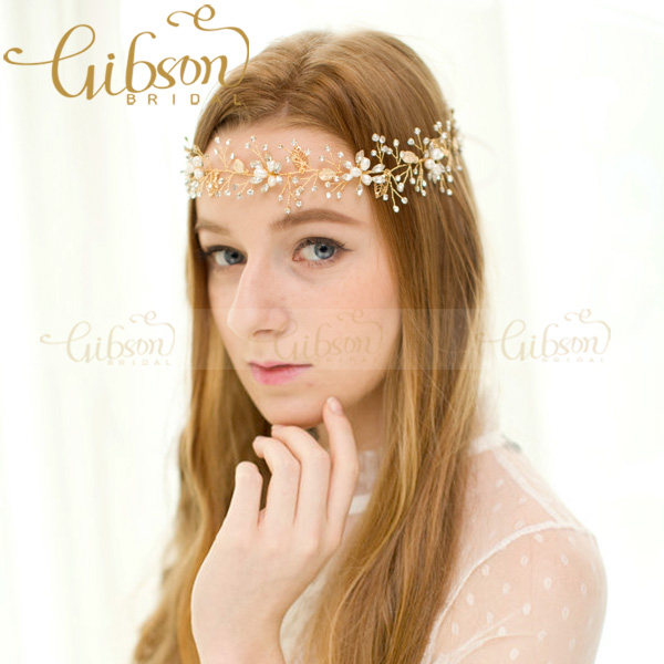 Free Shipping Sparkling Crystal And Beaded Floral Wedding Bride Lady Hair Vine Gilrs Photography Props Actors Dress Up Headpiece<br><br>Aliexpress