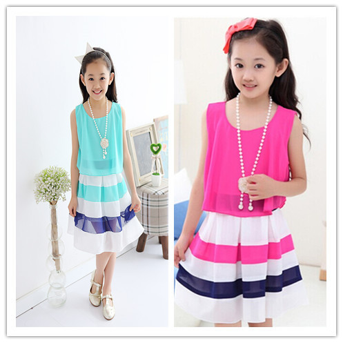 2015 New Summer Chiffon girl princess dress for 120-170cm girls casual striped hot sale clothes(China (Mainland))