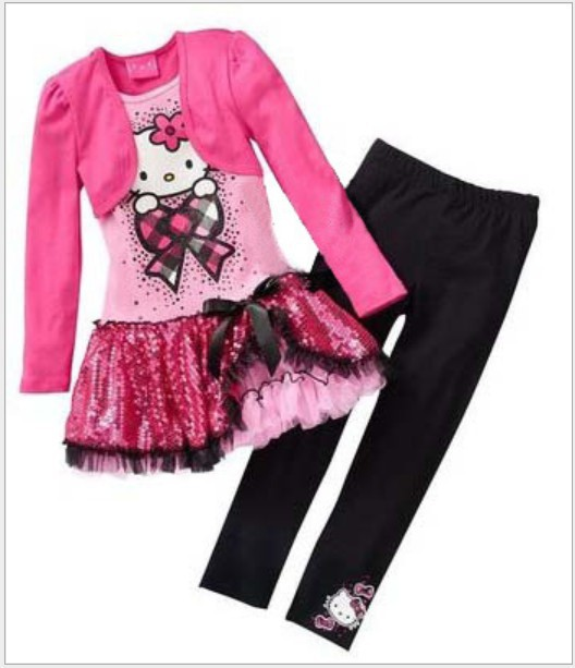 Retail 2015 Kids Clothes Sets Fashion Autumn 2pcs Sets Skirt Suit Hello Kitty Baby Girls Dresses Clothing Sets Shirt +Pants(China (Mainland))