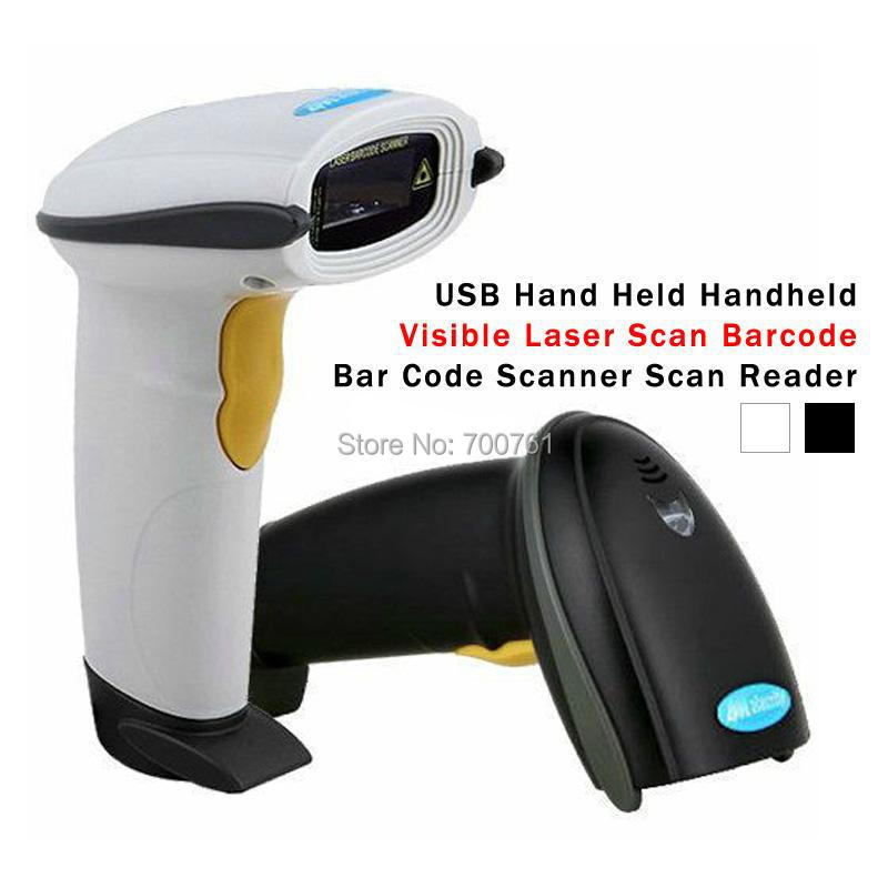 20pcs/lot NEW Handheld Laser Barcode Scanner best for POS Bar Code Reader,USB Hand Held,black/white,free shipping(China (Mainland))
