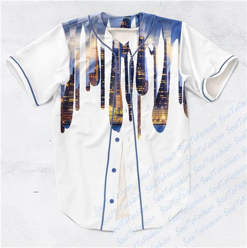 2 Colors Real USA Size Detroit City Drip Custom made Fashion 3D Sublimaiton Print Baseball Jersey Plus Size(China (Mainland))