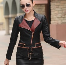 Fashion girl leather clothing outerwear new 2015 autumn leather jacket women coats jackets short slim ladies jacket coat black(China (Mainland))