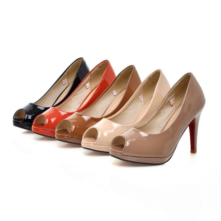 Free Shipping Women s patent leather pumps pump sets foot round fine with the fish head