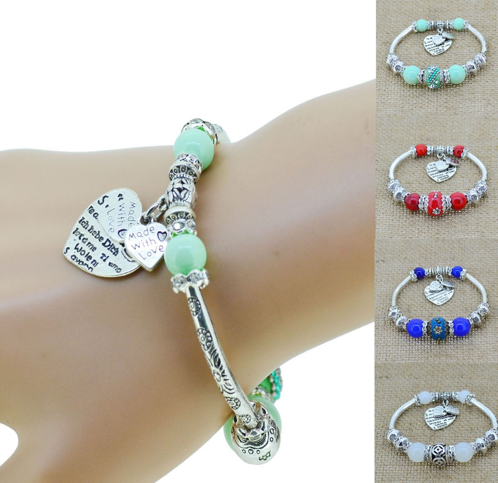 Crystal Bracelet Bangles Antique Silver European Bead Love Charm Glass Beads Strand Bracelets For 2014 Women