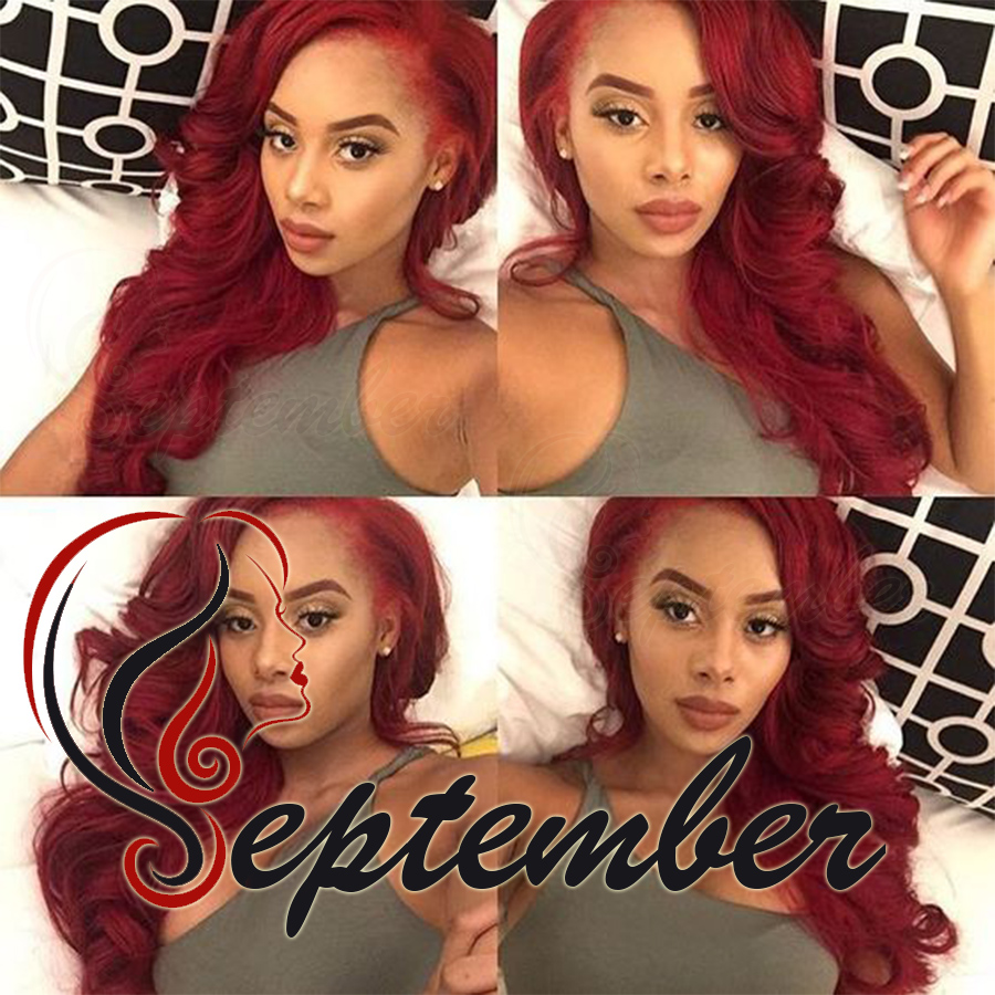 red body wave synthetic lace front wig glueless synthetic fiber hair lace front wig for black women red wig