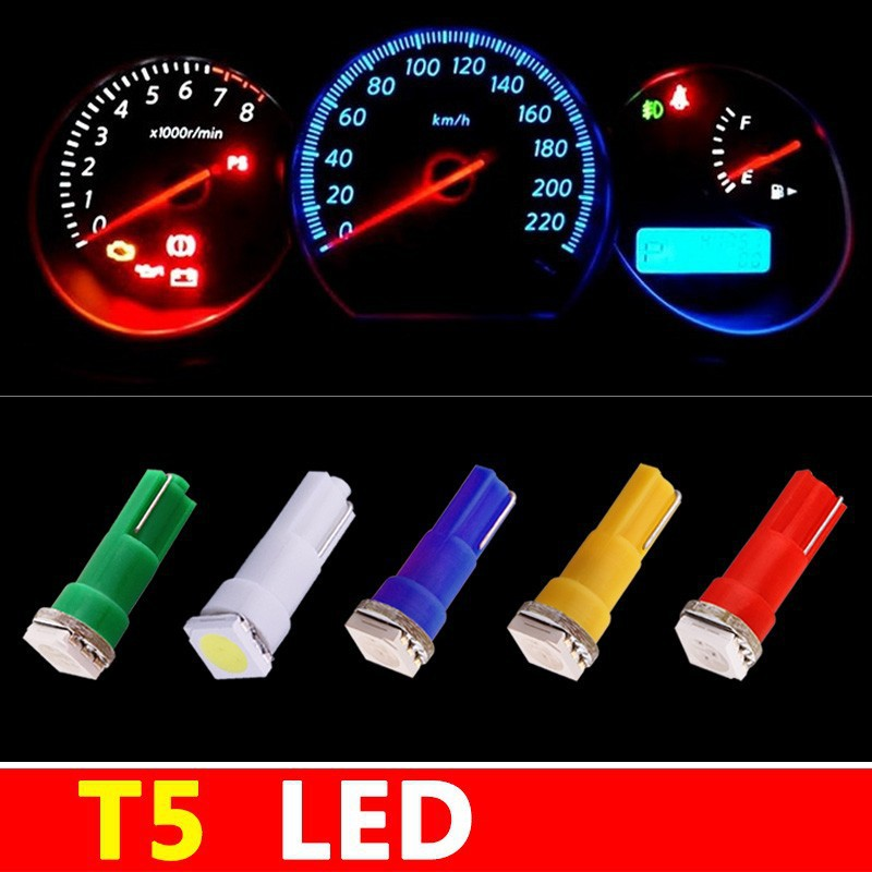 2Colorful T5 1 SMD 5050 LED 74 led Car Side Wedge Interior Instrument Panel Gauge Light Lamp Bulbs - QISHI AUTO TRADE CO.,LTD store