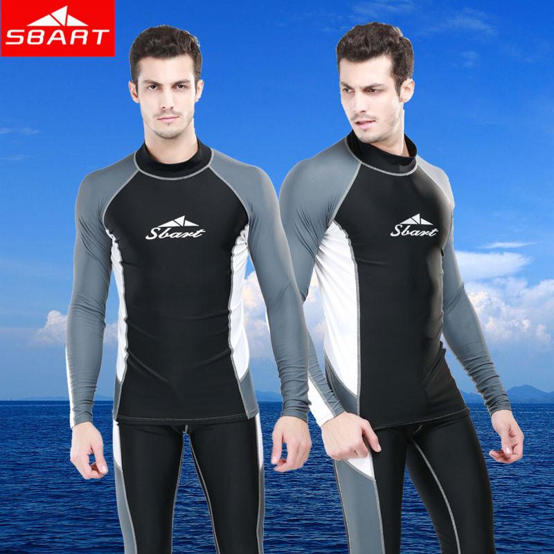 SBART Rashguard For Men Lycra Top Long Sleeve Swimsuit Rash Guard Mma Sunscreen Swim Shirts Suits Mens Long Swim Pants 2015 Sale(China (Mainland))
