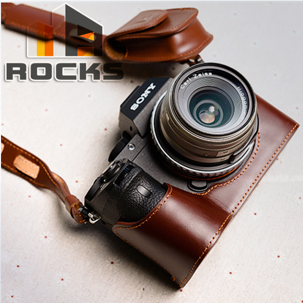100% Hand Made Brown Natural Leather Half Camera Case Bag Cover Protector Suit For Sony A7II A7RII ILCE-7M2 ILCE-7RM2 Camera(China (Mainland))