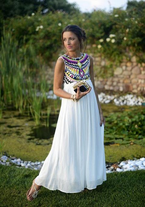 2015 female dress summer white embroidery high waist loose beach bohemian floral long maxi full dresses women woman big size - Calla's Dream Store store