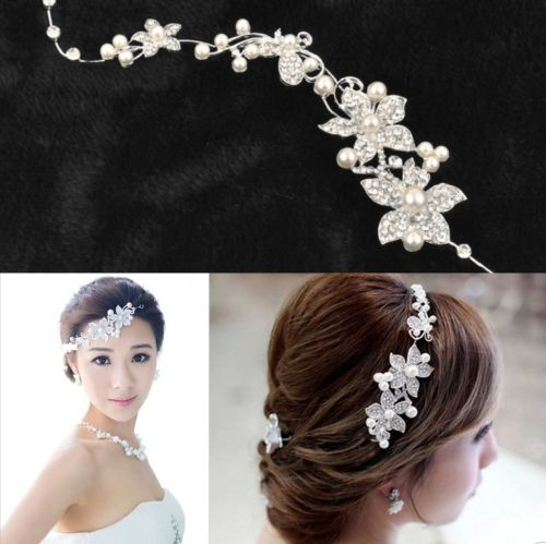 Hot Ladies Rhinestone Bridal Wedding Flower Delicate Pearls Crystal Chic Headband Hair Clip Comb Jewelry