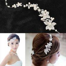 Hot Ladies Rhinestone Bridal Wedding Flower Delicate Pearls Crystal Chic Headband Hair Clip Comb Jewelry