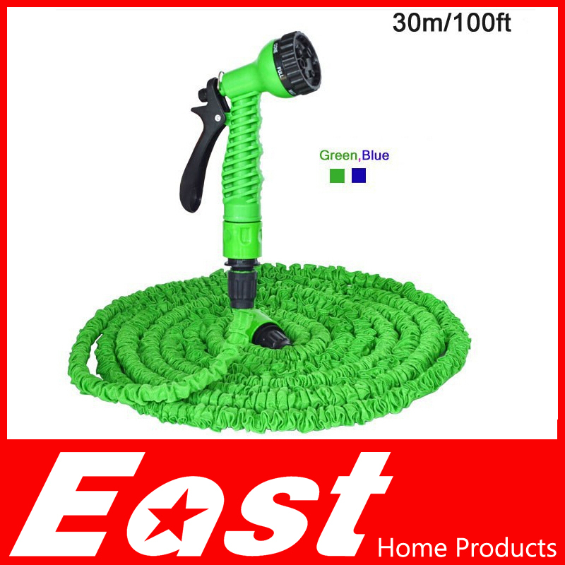 EAST home products Magic Hose 100FT Hose with gun WATER GARDEN Pipe Green Water valve+ spray Gun With EU&US connector seen on TV(China (Mainland))