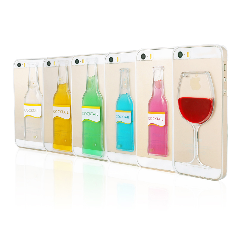 Luxury Beer Red Wine Cup Cocktail Liquid Quicksand Clear Transparent Phone Case Apple iPhone 6S/6 Plus 5.5 inch Hard Back Cover - Ce-Village Tech Co.,LTD store