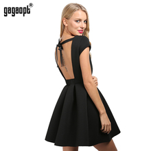 Gagaopt Summer Sexy Party Dresses Princess Open Back Bow Backless O-neck Autumn Bandage Dress Vestidos Robes - gagaopt store