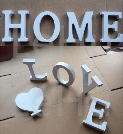 Home Decor Decoration thick Wood Wooden White Letters Alphabet Wedding Birthday 8cmX1.2cm(China (Mainland))