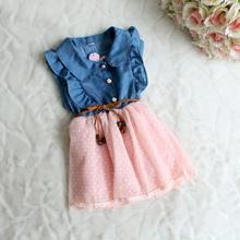 Baby girls dress  New fashion  Children clothing brand cotton denim dresses kids summer girl sleeveless princess dress HA005(China (Mainland))