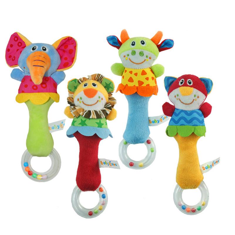 1Pcs Cute 22CM Developmental Animal Soft Stuffed Toy Infant Kids Baby Plush Toys Rattles Random Animal K5BO(China (Mainland))
