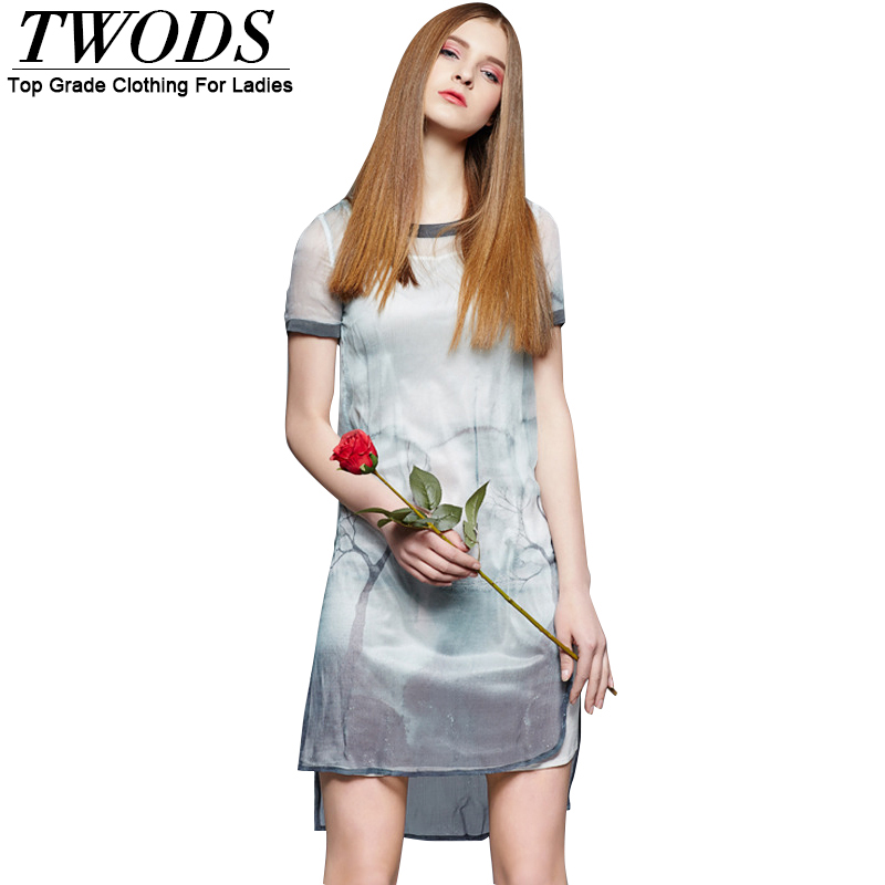 Twods Silk Printed Women High Low Summer Short Dress Short Sleeve O-neck Split Fading Grey 2016 New Designer Dresses S M L XL