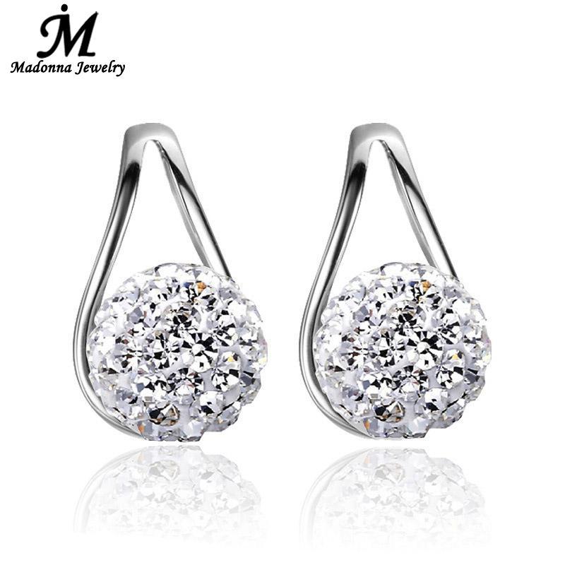2016 New Korean Style Shambhala Full Rhinestone Ball Triangle Design Silver Plated Stud Earrings Ear Jewelry Wholesaley(China (Mainland))