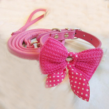 Lovely Dots Bowknot Ornaments or w/ Christmas Bells Pu Leather Dog Collar Leash Cat Kitten Collar Pet Leads for chihuahua yorkie(China (Mainland))