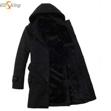 2016 Mens Long Winter Trench Coats Black Hooded Men'S Long Coat Male Camping Pea Coat Gabardina Casaco Masculino Manteau Homme(China (Mainland))