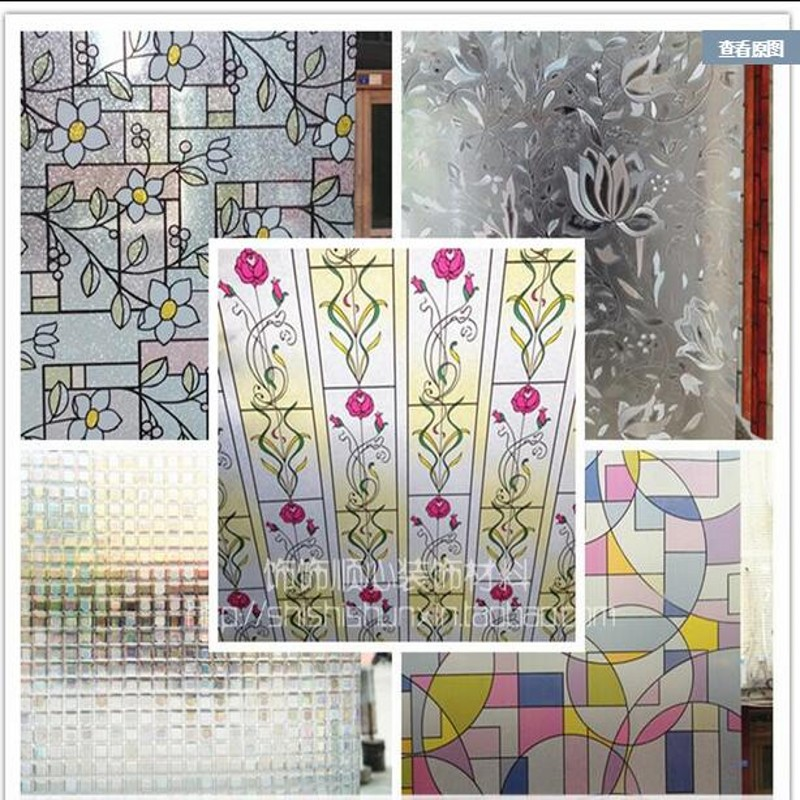 Window grilles paper without glue static glass film frosted window stickers bedroom window bathroom color sticker insulation(China (Mainland))