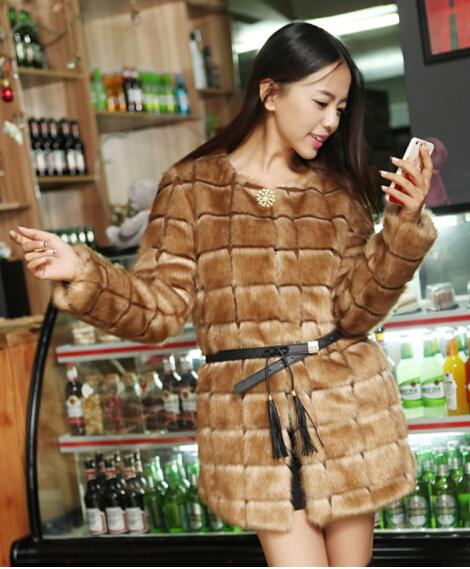 2015 European American new fashion stitching round neck long warm women leather jacket fur coat