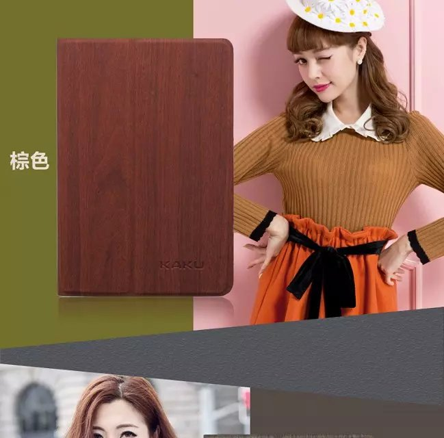 New Orginal KAKU Slim Wood Grain Flip Leather Case Stand ultra smart cover case for Apple iPad 2 iPad 3 iPad 4(China (Mainland))