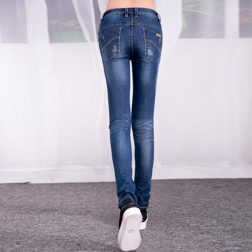 Wholesale Japanese version great quality cotton pencil pants feet Raise-Hip Jeans middle-waist 2016 new women's jeans w782(China (Mainland))
