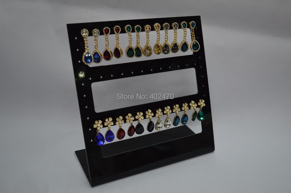 60 Holes Earring Jewelry Show Black Plastic Acrylic Display Rack Stand Organizer Holder - crystalshop jewelry packaging store