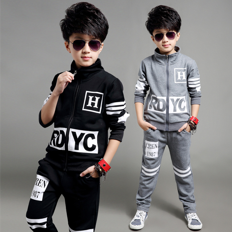 2016 new boy's suit Children's wear boy's spring cuhk children's chest letter suits fashion boy casual clothes boy sport sets(China (Mainland))