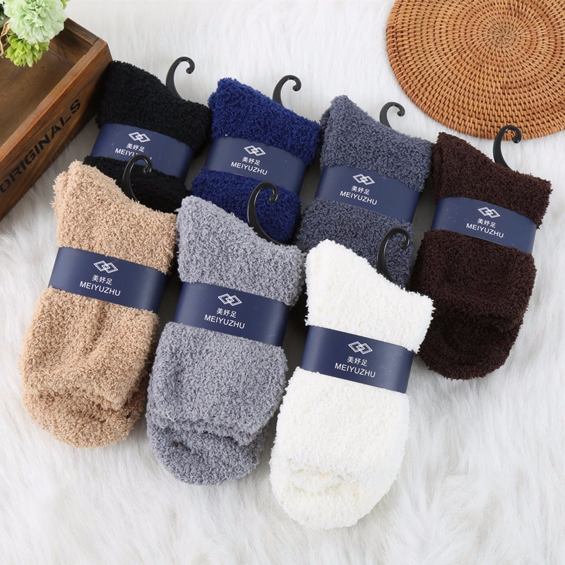 Hot Warm Men Middle Socks Winter Solid Color No Show Socks High Quality Super Soft Coral Fleece Sleeping Sock 2016 Man Clothing (21)