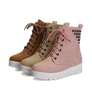 2014 New Fashion Rivet Winter Women Leather Low-heeled Martin Boots Brand Round Toe Winter Warm Boot