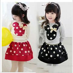 2015 girls suits spring cotton sets baby girl cartoon t -shirts+dot skirts 2 pcs suits children cute clothing set YF-113(China (Mainland))
