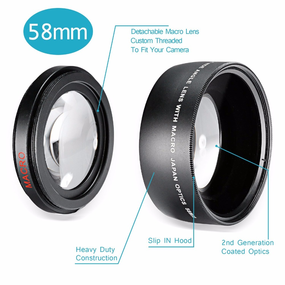 NEEWER NEW 58MM 0.43X Wide Angle Camera Lens 58 MM Canon EOS 350D 400D 450D 500D 1000D 550D 600D 650D 700D 1100D 18-55mm Kit - Bestbuy365 store