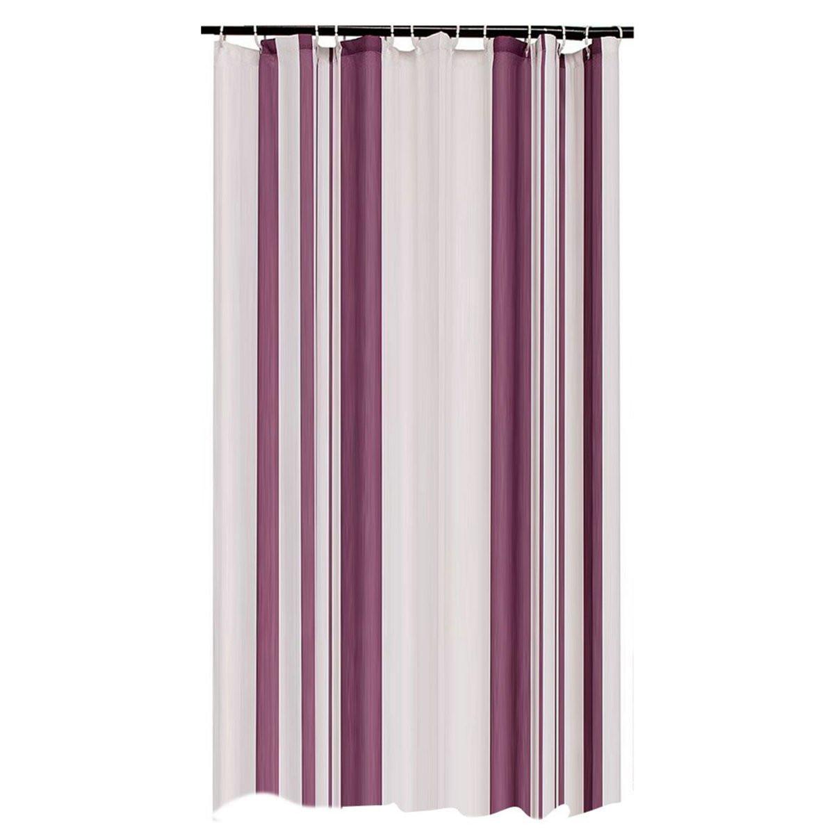 Cortinas De Baño Artesanales:Púrpura Rayas Diseño A Prueba de agua Cortina de Ducha de Poliéster