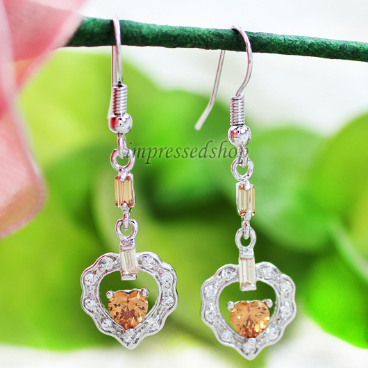 Hot classic vintage 18K gold earrings 2015 wedding ethnic heart cubic zirconia women - SunFlower Trade Co.,Ltd store